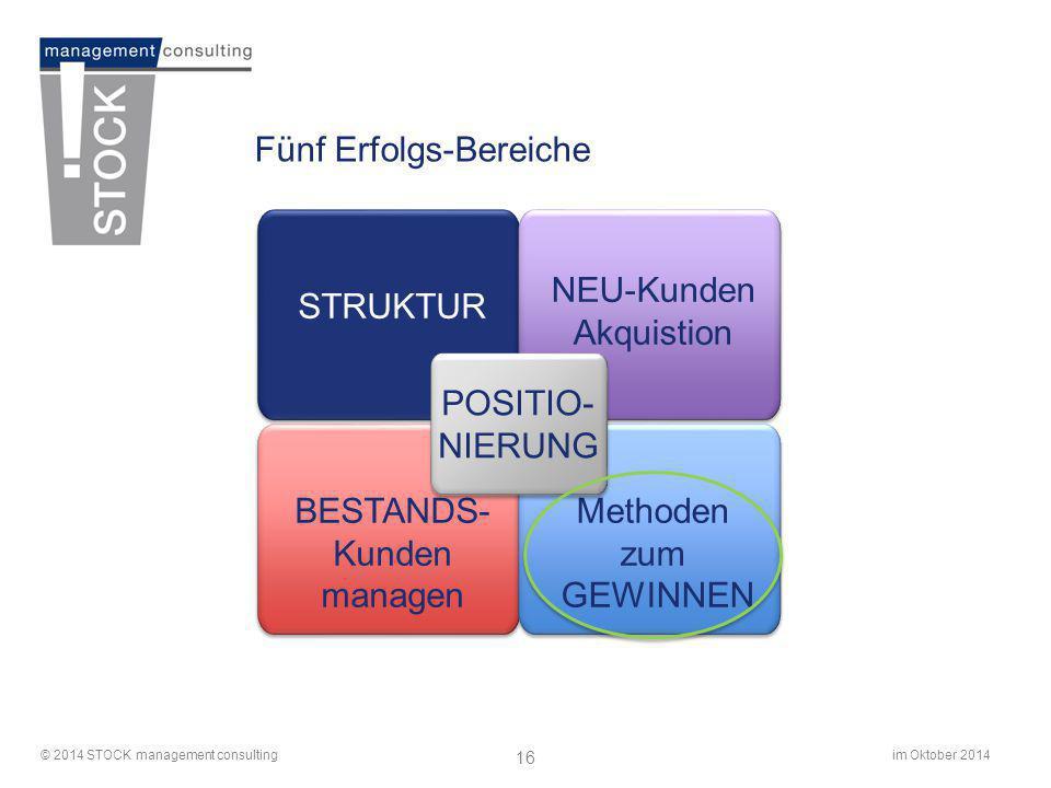 im Oktober 2014© 2014 STOCK management consulting 16 Fünf Erfolgs-Bereiche STRUKTUR NEU-Kunden Akquistion BESTANDS- Kunden managen Methoden zum GEWINN