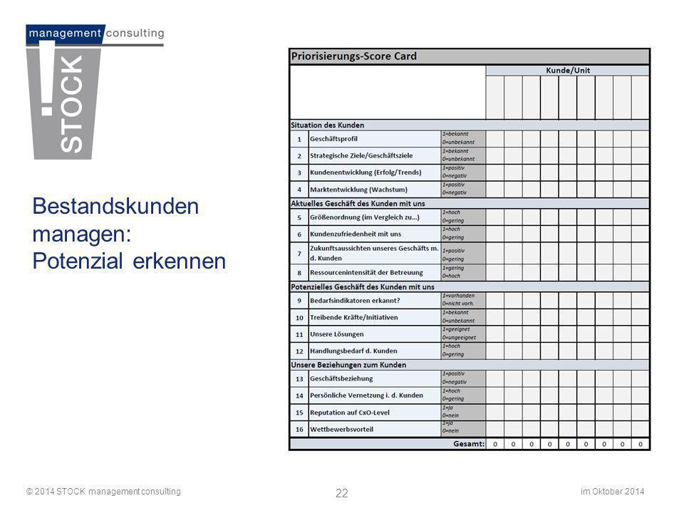 im Oktober 2014© 2014 STOCK management consulting 22 Bestandskunden managen: Potenzial erkennen