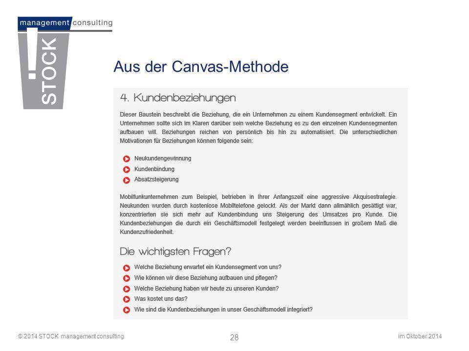 im Oktober 2014© 2014 STOCK management consulting 28 Aus der Canvas-Methode