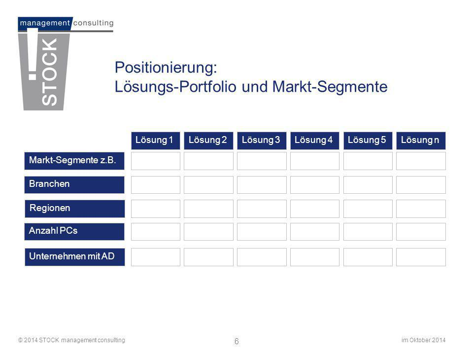 im Oktober 2014© 2014 STOCK management consulting 6 Positionierung: Lösungs-Portfolio und Markt-Segmente Markt-Segmente z.B. Branchen Regionen Anzahl