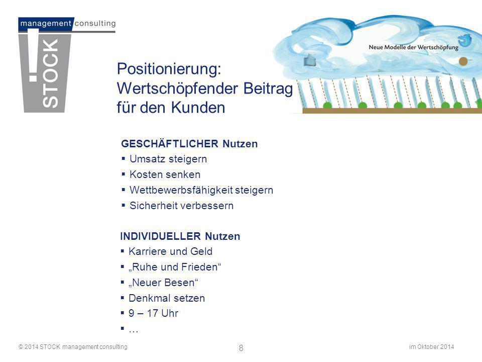 im Oktober 2014© 2014 STOCK management consulting 8 Positionierung: Wertschöpfender Beitrag für den Kunden GESCHÄFTLICHER Nutzen  Umsatz steigern  K