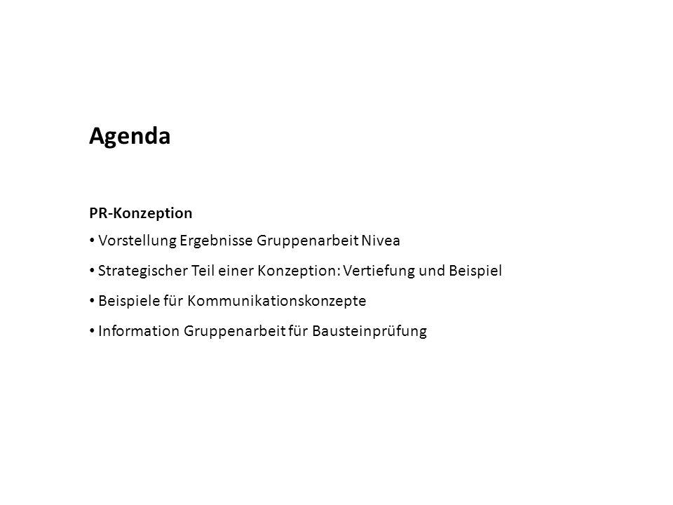 Agenda PR-Konzeption Vorstellung Ergebnisse Gruppenarbeit Nivea Strategischer Teil einer Konzeption: Vertiefung und Beispiel Beispiele für Kommunikationskonzepte Information Gruppenarbeit für Bausteinprüfung