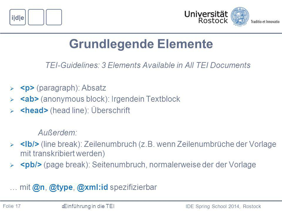 IDE Spring School 2014, Rostock  Einführung in die TEI Folie 17 Grundlegende Elemente TEI-Guidelines: 3 Elements Available in All TEI Documents  (pa
