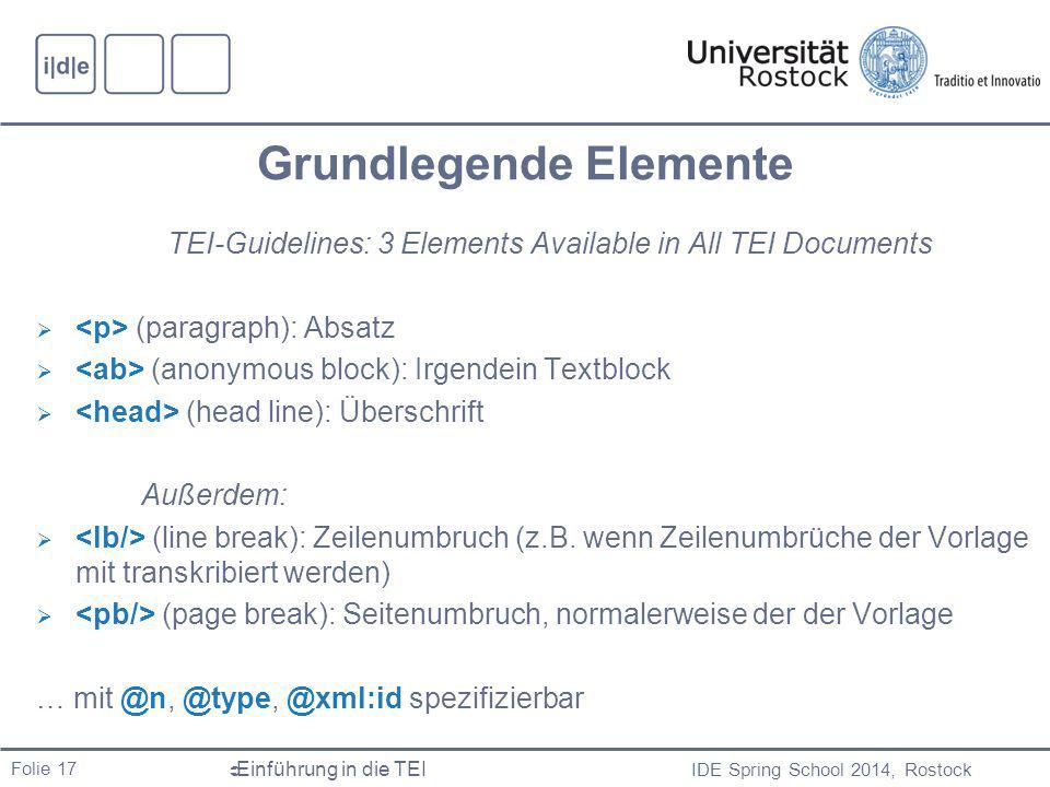 IDE Spring School 2014, Rostock  Einführung in die TEI Folie 17 Grundlegende Elemente TEI-Guidelines: 3 Elements Available in All TEI Documents  (paragraph): Absatz  (anonymous block): Irgendein Textblock  (head line): Überschrift Außerdem:  (line break): Zeilenumbruch (z.B.