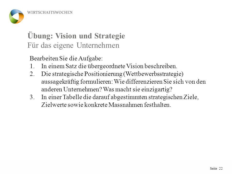 Seite 22 Übung: Vision und Strategie Bearbeiten Sie die Aufgabe: 1.In einem Satz die übergeordnete Vision beschreiben.