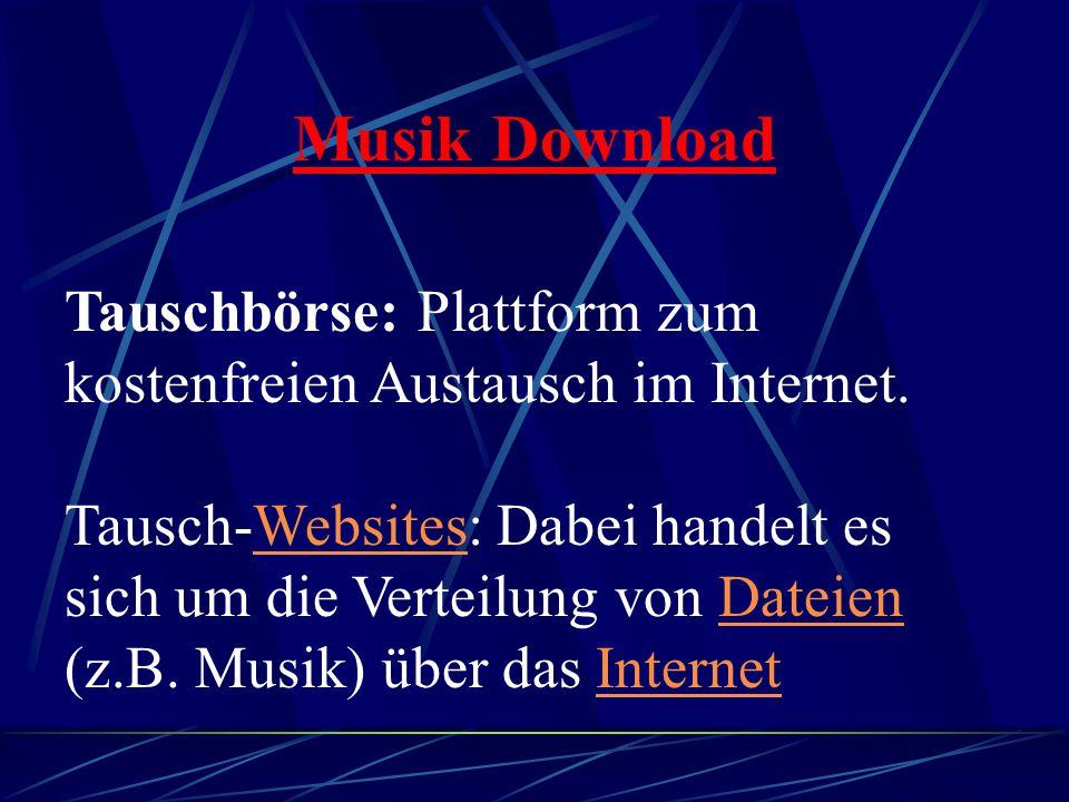 Musik Download Tauschbörse: Plattform zum kostenfreien Austausch im Internet.