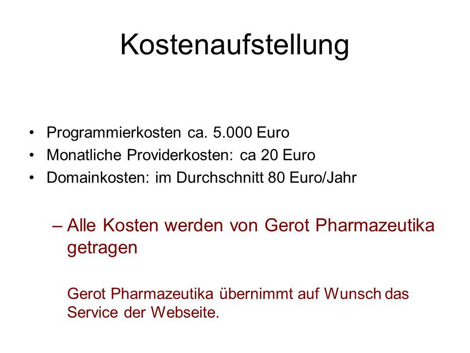 Kostenaufstellung Programmierkosten ca. 5.000 Euro Monatliche Providerkosten: ca 20 Euro Domainkosten: im Durchschnitt 80 Euro/Jahr –Alle Kosten werde