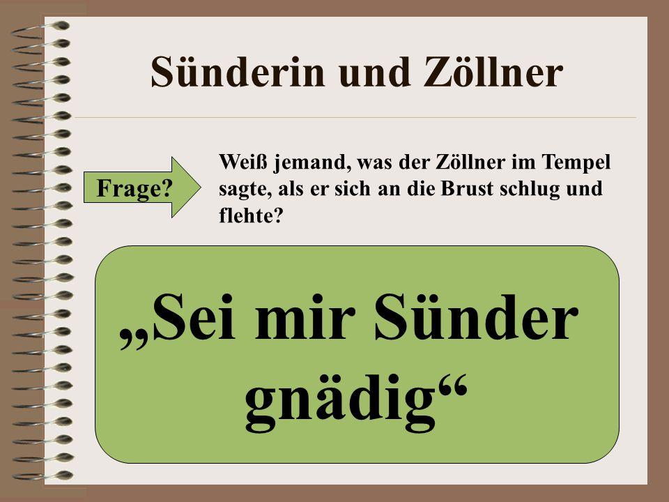"""Sünderin und Zöllner Frage? Weiß jemand, was der Zöllner im Tempel sagte, als er sich an die Brust schlug und flehte? """"Sei mir Sünder gnädig"""""""