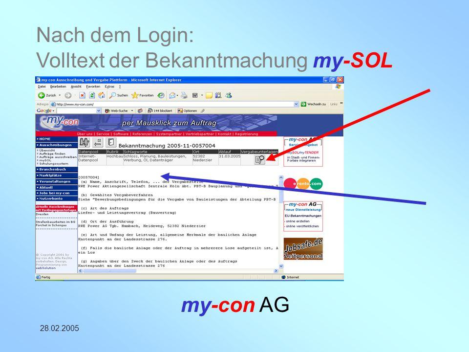 my-con AG 28.02.2005 Nach dem Login: Volltext der Bekanntmachung my-SOL