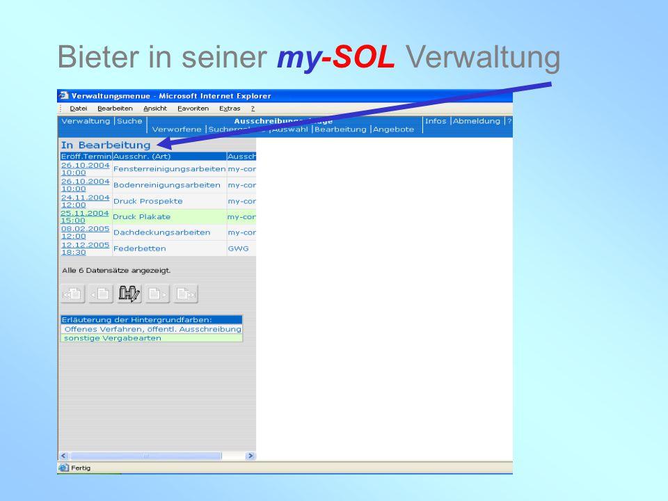 my-con AG 28.02.2005 Bieter in seiner my-SOL Verwaltung