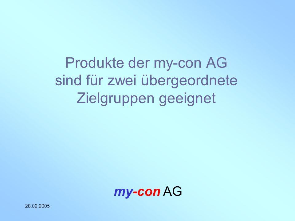 my-con AG 28.02.2005 Produkte der my-con AG sind für zwei übergeordnete Zielgruppen geeignet
