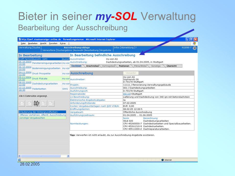 my-con AG 28.02.2005 Bieter in seiner my-SOL Verwaltung Bearbeitung der Ausschreibung