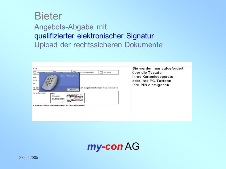 my-con AG 28.02.2005 Bieter Angebots-Abgabe mit qualifizierter elektronischer Signatur Upload der rechtssicheren Dokumente