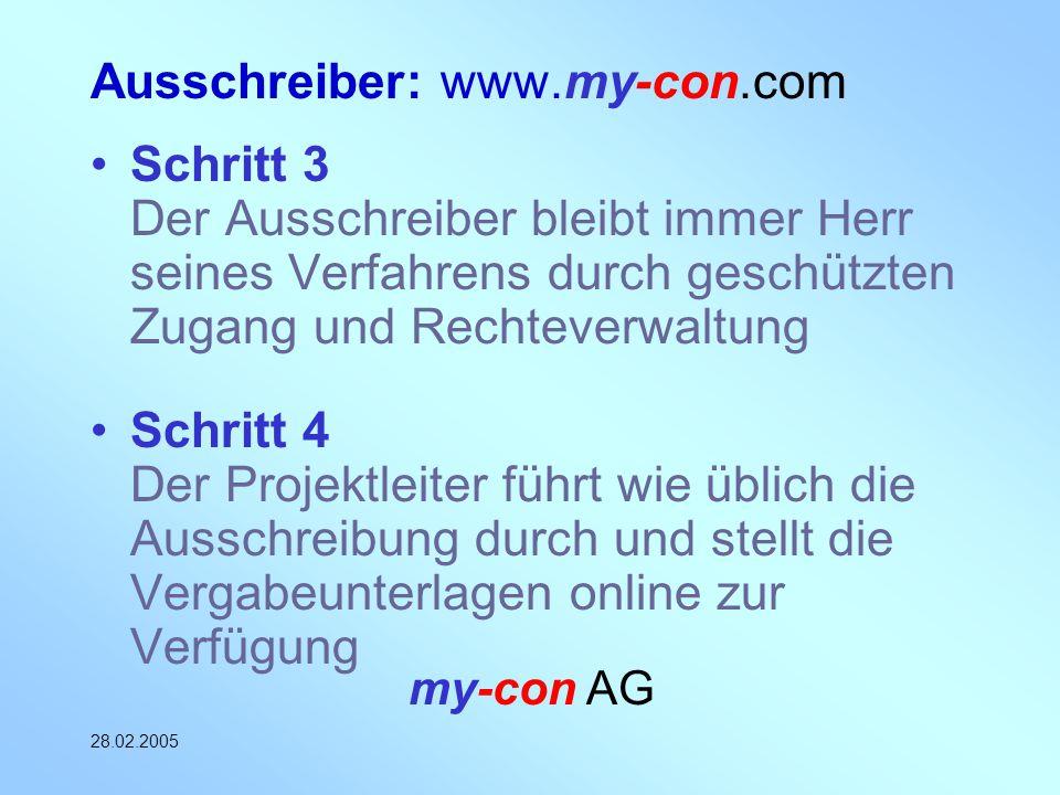 my-con AG 28.02.2005 Ausschreiber: www.my-con.com Schritt 3 Der Ausschreiber bleibt immer Herr seines Verfahrens durch geschützten Zugang und Rechteve