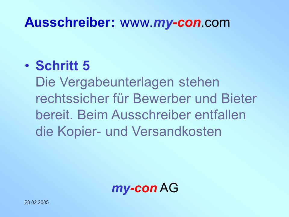 my-con AG 28.02.2005 Ausschreiber: www.my-con.com Schritt 5 Die Vergabeunterlagen stehen rechtssicher für Bewerber und Bieter bereit. Beim Ausschreibe