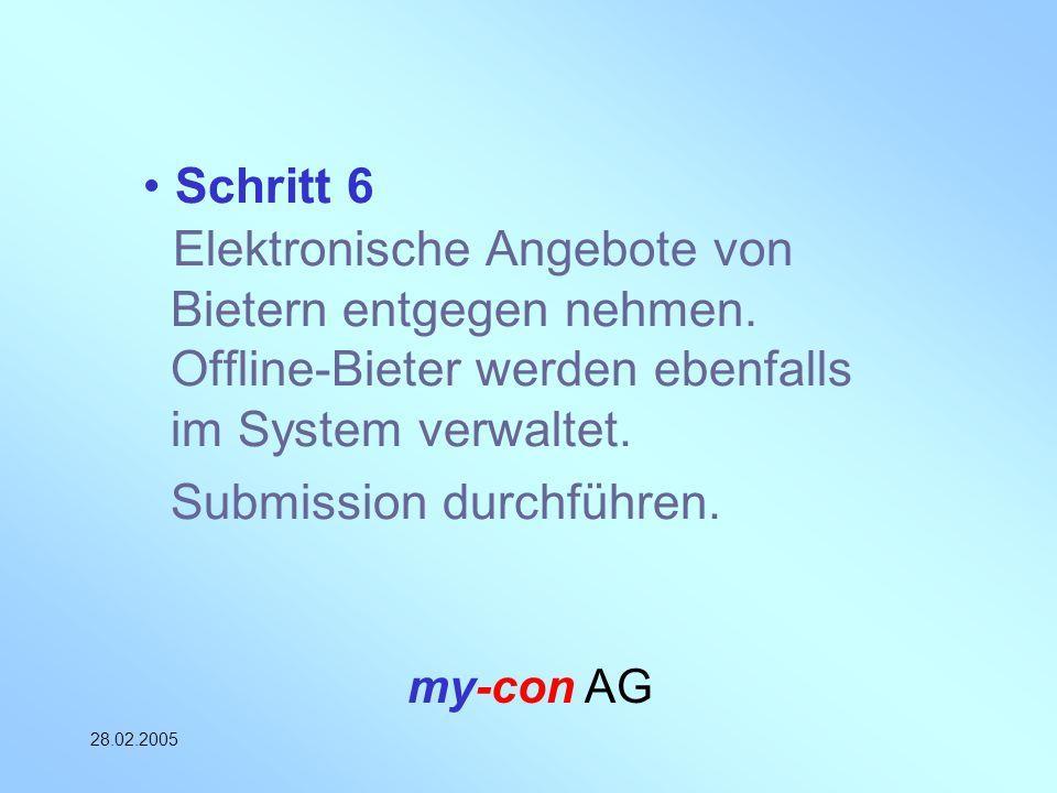 my-con AG 28.02.2005 Schritt 6 Elektronische Angebote von Bietern entgegen nehmen. Offline-Bieter werden ebenfalls im System verwaltet. Submission dur