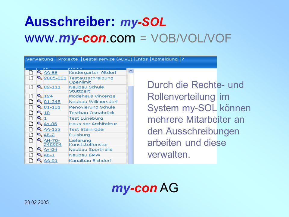 my-con AG 28.02.2005 Ausschreiber: my-SOL www.my-con.com = VOB/VOL/VOF Durch die Rechte- und Rollenverteilung im System my-SOL können mehrere Mitarbei