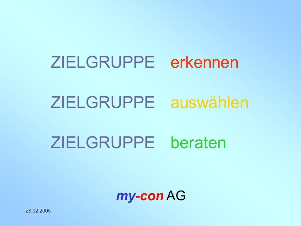 my-con AG 28.02.2005 ZIELGRUPPE erkennen ZIELGRUPPE auswählen ZIELGRUPPE beraten