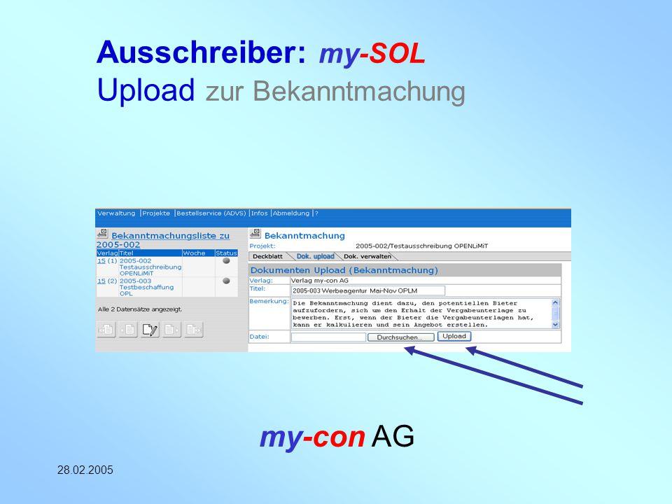 my-con AG 28.02.2005 Ausschreiber: my-SOL Upload zur Bekanntmachung