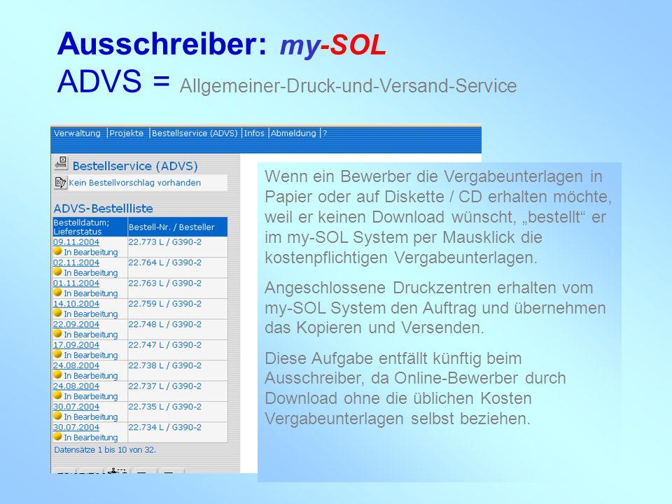 my-con AG 28.02.2005 Ausschreiber: my-SOL ADVS = Allgemeiner-Druck-und-Versand-Service Wenn ein Bewerber die Vergabeunterlagen in Papier oder auf Disk