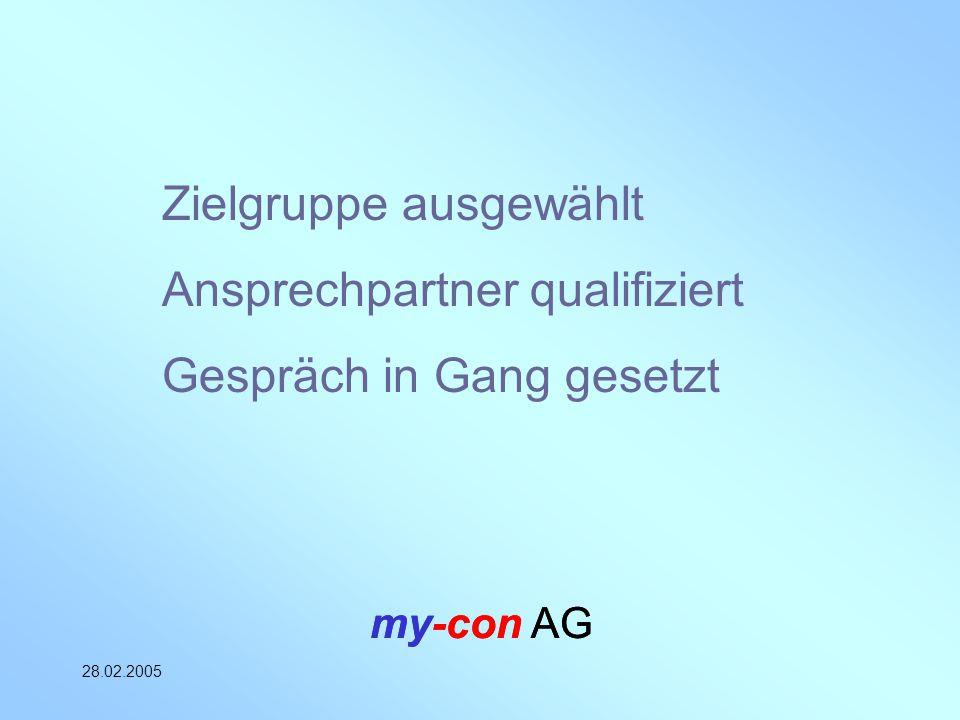 my-con AG 28.02.2005 my-con AG Zielgruppe ausgewählt Ansprechpartner qualifiziert Gespräch in Gang gesetzt