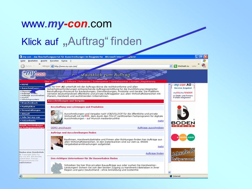 """my-con AG 28.02.2005 www.my-con.com Klick auf """" Auftrag"""" finden"""
