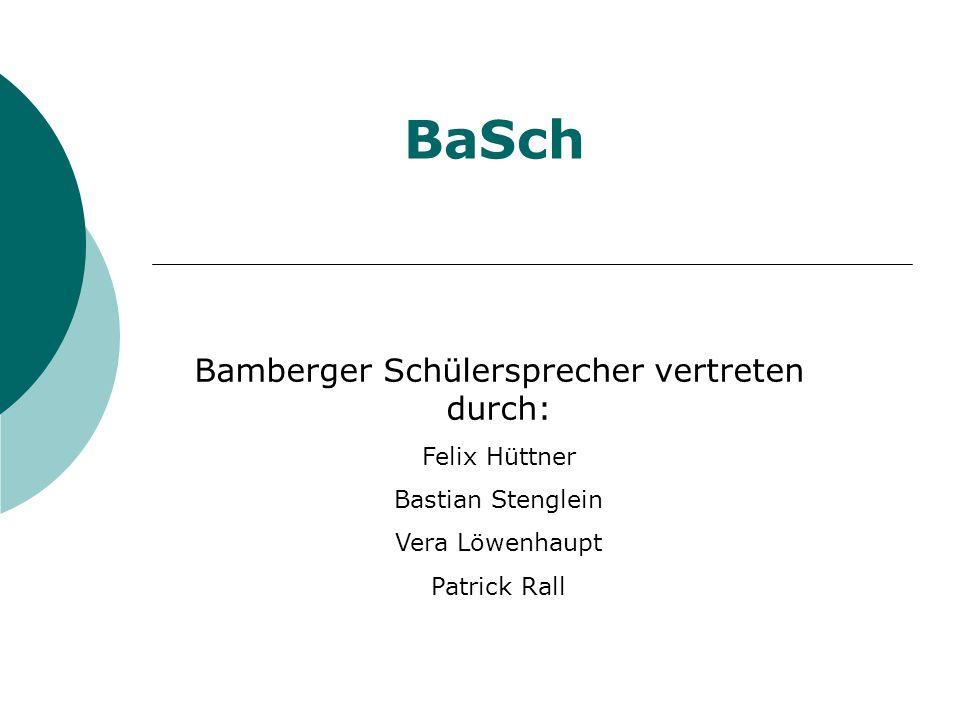 BaSch Bamberger Schülersprecher vertreten durch: Felix Hüttner Bastian Stenglein Vera Löwenhaupt Patrick Rall