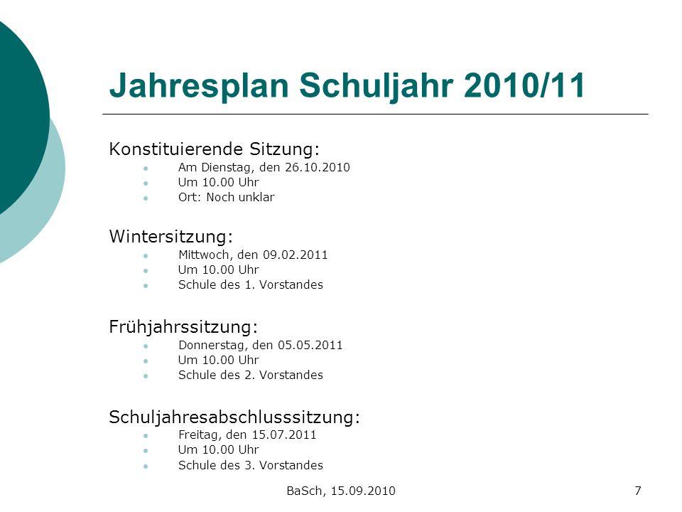 BaSch, 15.09.20107 Jahresplan Schuljahr 2010/11 Konstituierende Sitzung: Am Dienstag, den 26.10.2010 Um 10.00 Uhr Ort: Noch unklar Wintersitzung: Mitt
