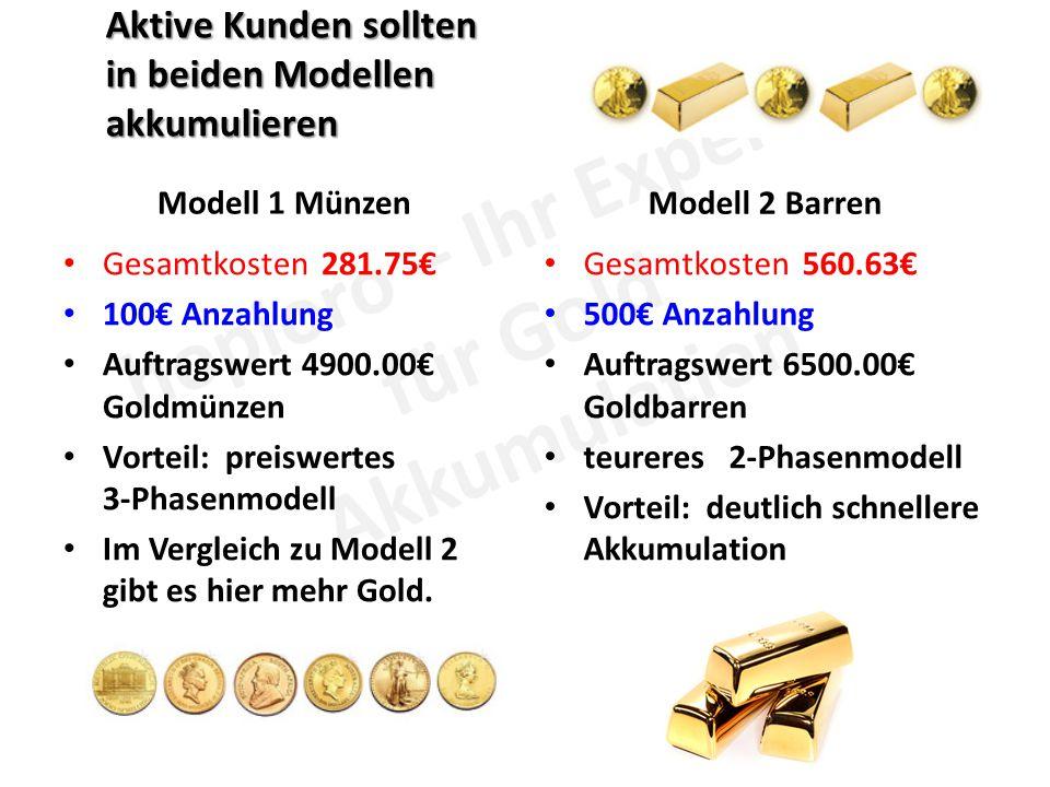 Aktive Kunden sollten in beiden Modellen akkumulieren Modell 1 Münzen Gesamtkosten 281.75€ 100€ Anzahlung Auftragswert 4900.00€ Goldmünzen Vorteil: preiswertes 3-Phasenmodell Im Vergleich zu Modell 2 gibt es hier mehr Gold.