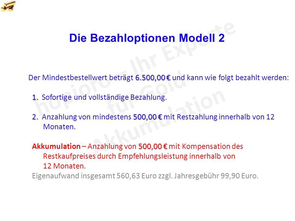 6.500,00 € Der Mindestbestellwert beträgt 6.500,00 € und kann wie folgt bezahlt werden: 1.