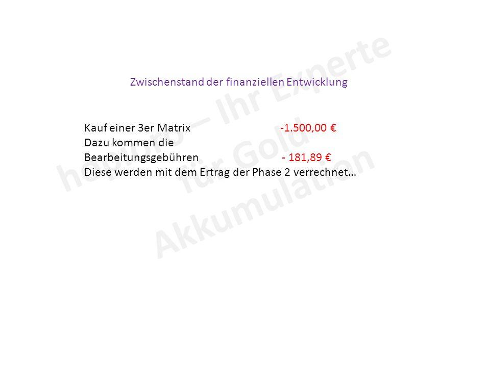 Zwischenstand der finanziellen Entwicklung Kauf einer 3er Matrix-1.500,00 € Dazu kommen die Bearbeitungsgebühren - 181,89 € Diese werden mit dem Ertrag der Phase 2 verrechnet…
