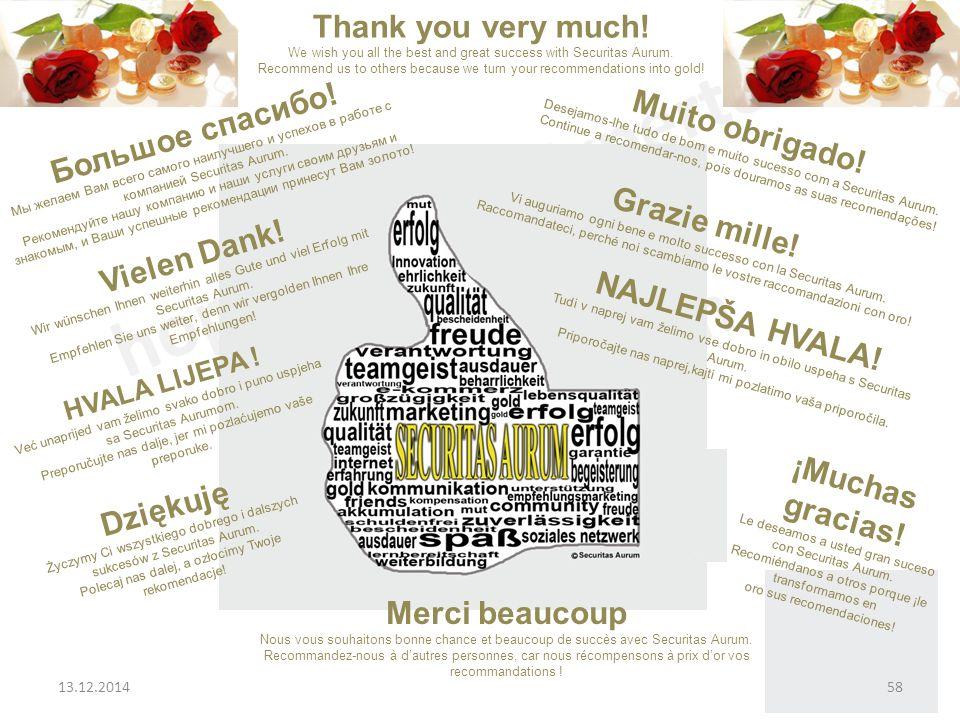 Vielen Dank.Wir wünschen Ihnen weiterhin alles Gute und viel Erfolg mit Securitas Aurum.