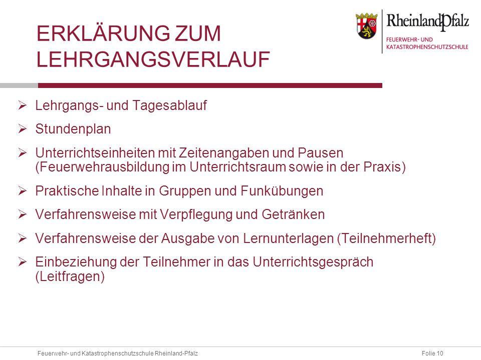 Folie 10Feuerwehr- und Katastrophenschutzschule Rheinland-Pfalz ERKLÄRUNG ZUM LEHRGANGSVERLAUF  Lehrgangs- und Tagesablauf  Stundenplan  Unterricht