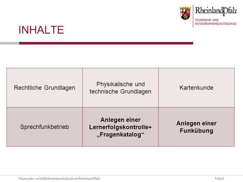 Folie 8Feuerwehr- und Katastrophenschutzschule Rheinland-Pfalz INHALTE Rechtliche Grundlagen Physikalische und technische Grundlagen Kartenkunde Sprec