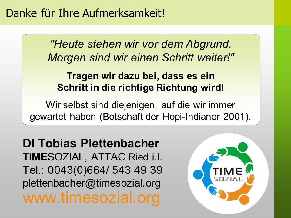 Danke für Ihre Aufmerksamkeit.DI Tobias Plettenbacher TIMESOZIAL, ATTAC Ried i.I.