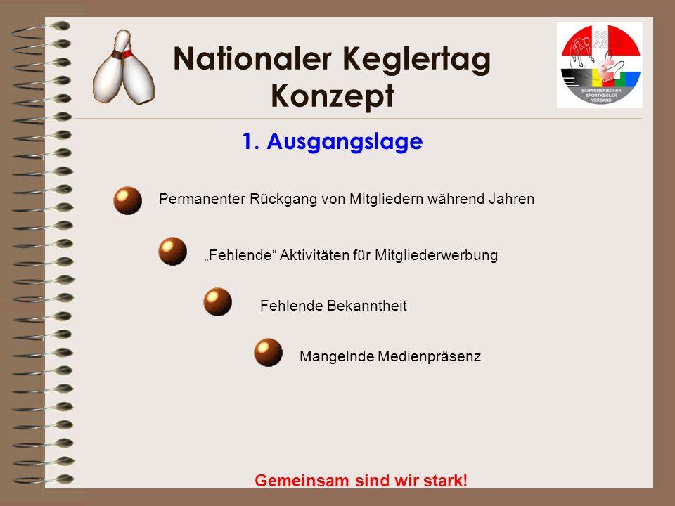 """Nationaler Keglertag Konzept Gemeinsam sind wir stark! 1. Ausgangslage Permanenter Rückgang von Mitgliedern während Jahren """"Fehlende"""" Aktivitäten für"""