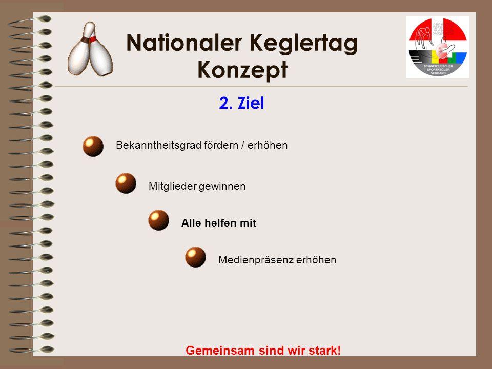 Nationaler Keglertag Konzept Gemeinsam sind wir stark! 3. Der Weg zum Ziel