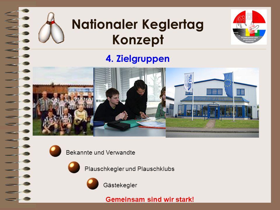 Nationaler Keglertag Konzept Gemeinsam sind wir stark! 4. Zielgruppen Bekannte und Verwandte Plauschkegler und Plauschklubs Gästekegler