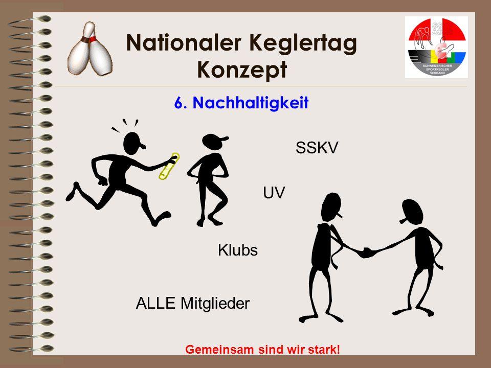 Nationaler Keglertag Konzept Gemeinsam sind wir stark! 6. Nachhaltigkeit SSKV Klubs UV ALLE Mitglieder