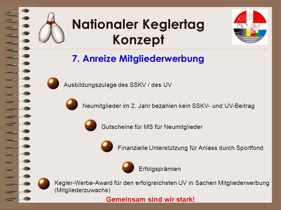 Nationaler Keglertag Konzept Gemeinsam sind wir stark! 7. Anreize Mitgliederwerbung Ausbildungszulage des SSKV / des UV Neumitglieder im 2. Jahr bezah