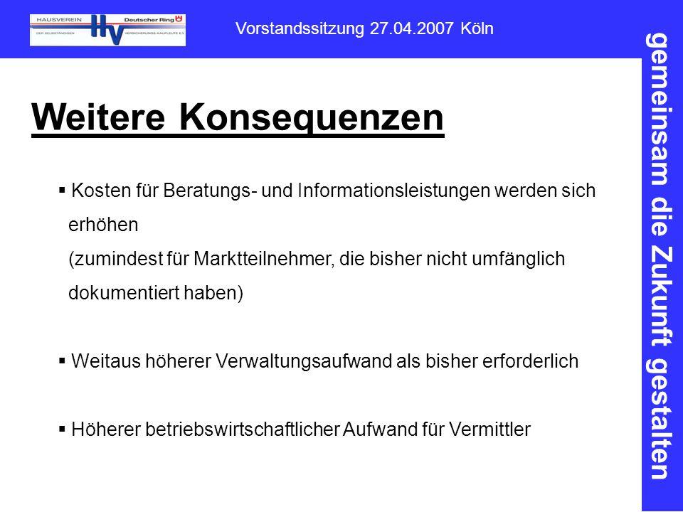 gemeinsam die Zukunft gestalten Vorstandssitzung 27.04.2007 Köln Weitere Konsequenzen  Kosten für Beratungs- und Informationsleistungen werden sich erhöhen (zumindest für Marktteilnehmer, die bisher nicht umfänglich dokumentiert haben)  Weitaus höherer Verwaltungsaufwand als bisher erforderlich  Höherer betriebswirtschaftlicher Aufwand für Vermittler