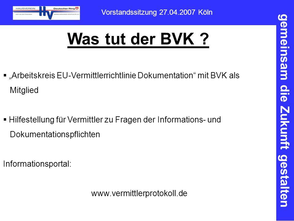 gemeinsam die Zukunft gestalten Vorstandssitzung 27.04.2007 Köln Was tut der BVK .