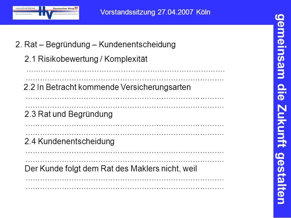 gemeinsam die Zukunft gestalten Vorstandssitzung 27.04.2007 Köln 2.