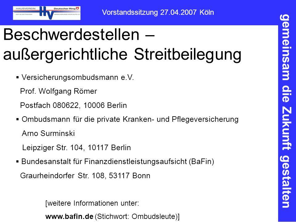 gemeinsam die Zukunft gestalten Vorstandssitzung 27.04.2007 Köln Beschwerdestellen – außergerichtliche Streitbeilegung  Versicherungsombudsmann e.V.