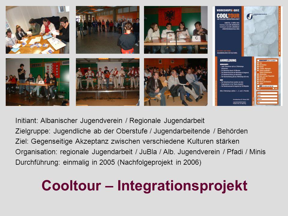 Cooltour – Integrationsprojekt Initiant: Albanischer Jugendverein / Regionale Jugendarbeit Zielgruppe: Jugendliche ab der Oberstufe / Jugendarbeitende / Behörden Ziel: Gegenseitige Akzeptanz zwischen verschiedene Kulturen stärken Organisation: regionale Jugendarbeit / JuBla / Alb.