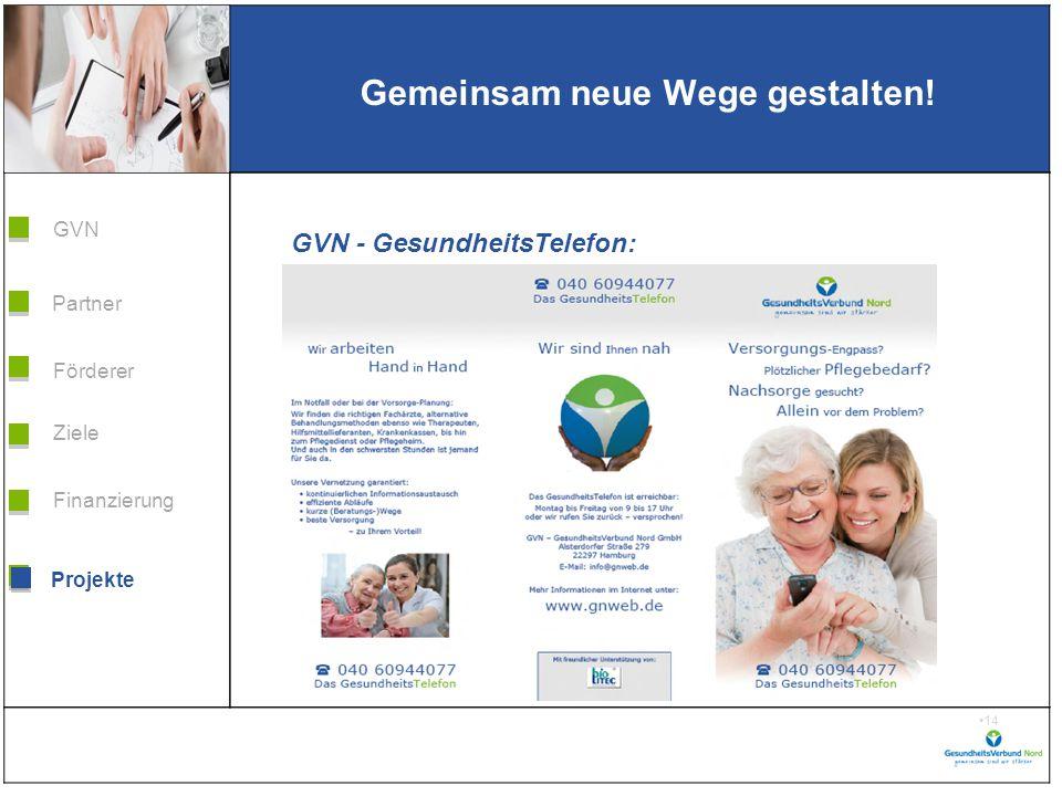 Grafik H 3,99 * B 5,38 Förderer Ziele Finanzierung GVN Projekte Partner 14 Gemeinsam neue Wege gestalten.