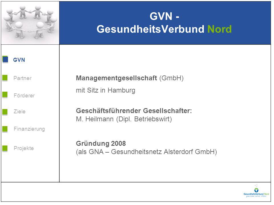 Grafik H 3,99 * B 5,38 Förderer Ziele Finanzierung GVN Projekte Partner 3 GVN - GesundheitsVerbund Nord GVN