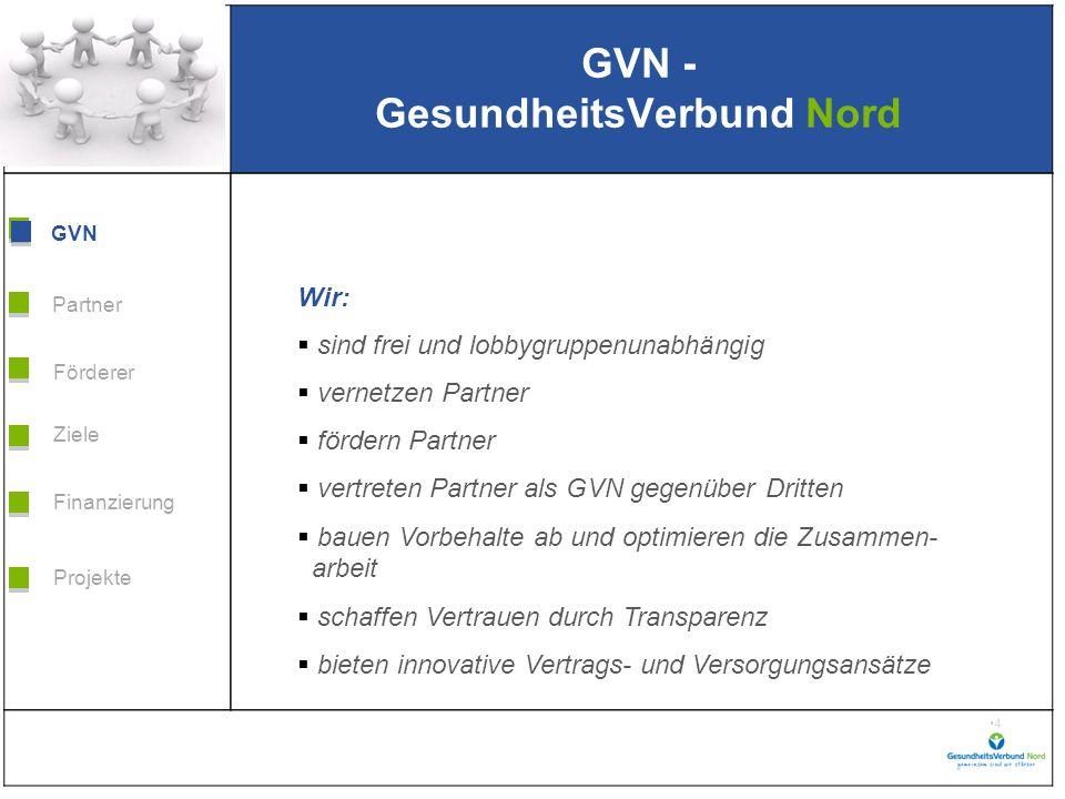 Grafik H 3,99 * B 5,38 Förderer Ziele Finanzierung GVN Projekte Partner 15 Gemeinsam neue Wege gestalten.