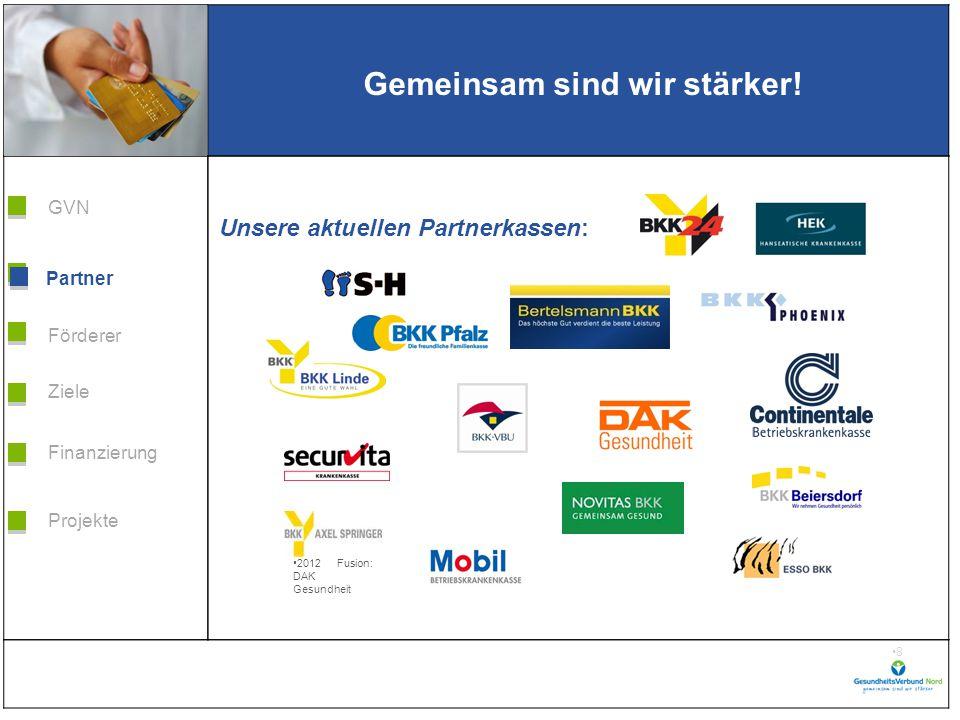 Grafik H 3,99 * B 5,38 Förderer Ziele Finanzierung GVN Projekte Partner 9 Weil wir es wert sind.
