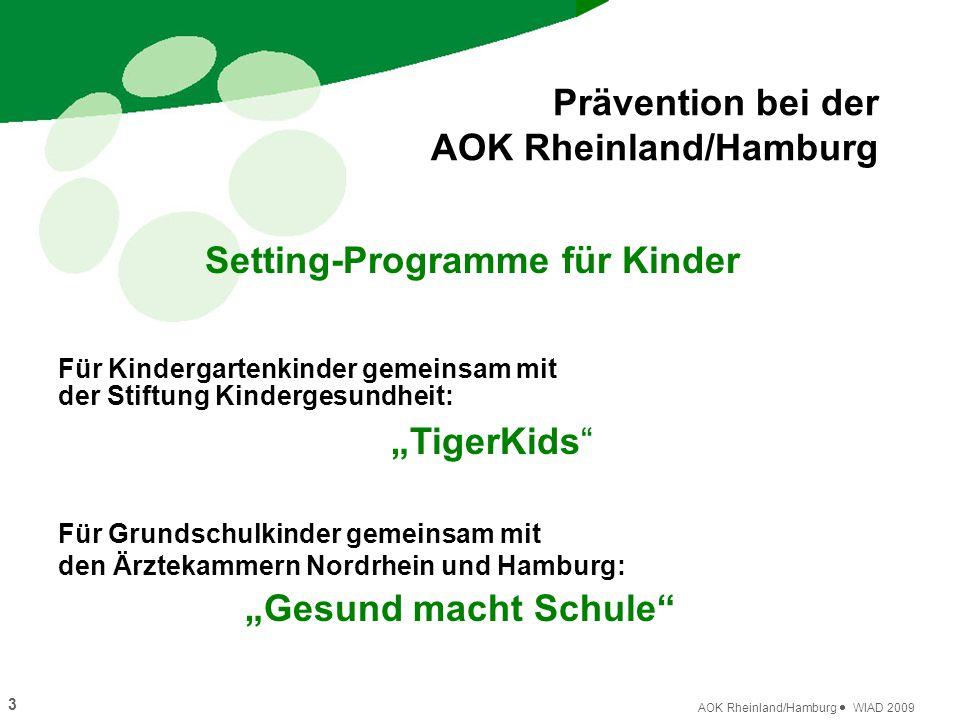 3 AOK Rheinland/Hamburg  WIAD 2009 Setting-Programme für Kinder Prävention bei der AOK Rheinland/Hamburg Für Kindergartenkinder gemeinsam mit der Sti